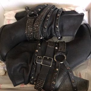 Black bedazzled ankle boots